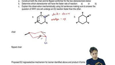 One of the stereoisomers below undergoes E2 reactions in the presence of a sto...
