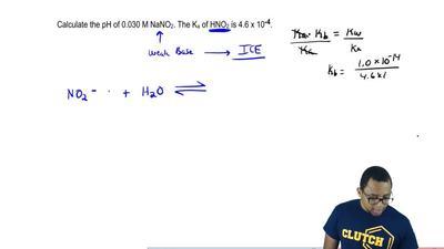 Calculate the pH of 0.030 M NaNO2. The Ka of HNO2 is 4.6 x 10-4. ...