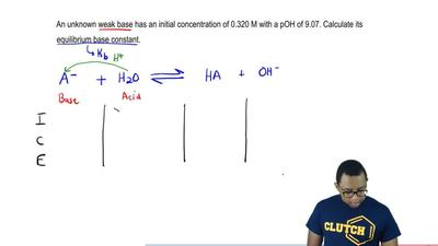 An unknown weak base has an initial concentration of 0.320 M with a pOH of 9.0...
