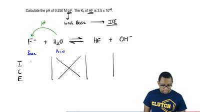 Calculate the pH of 0.250 M LiF. The Ka of HF is 3.5 x 10  -4. ...