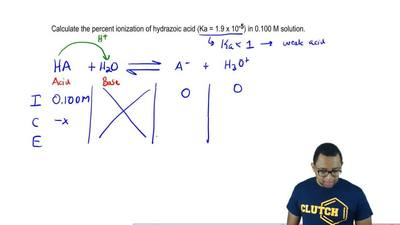 Calculate the percent ionization of hydrazoic acid (Ka = 1.9 x 10 -5) in 0.100...