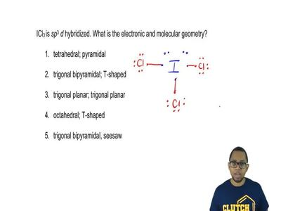 ICl3 is sp3 d hybridized. What is the electronic and molecular geometry?  1. t...