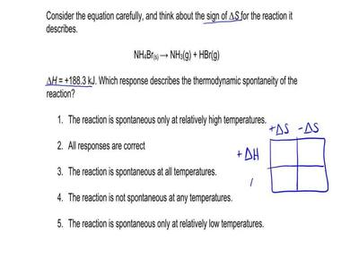 Consider the equation carefully, and think about the sign of ∆S for the reacti...