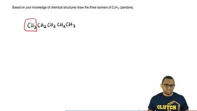 Based on your knowledge of chemical structures draw the three isomers of C5H12...