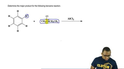 Determine the major product for the following benzene reaction.    ...