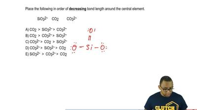 Place the following in order of  decreasing bond length around the central ele...
