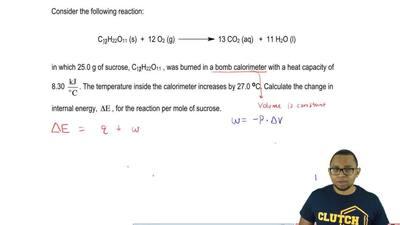 Consider the following reaction:    C12H22O11 (s) + 12 O2 (g)   →    13...