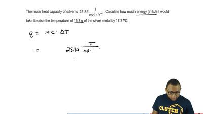 The molar heat capacity of silver is 25.35 J/mol × oC . Calculate how much ene...