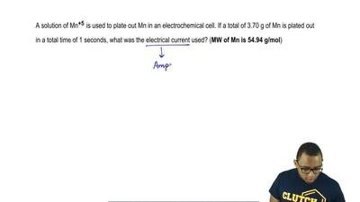 A solution of Mn+5 is used to plate out Mn in an electrochemical cell. If a to...