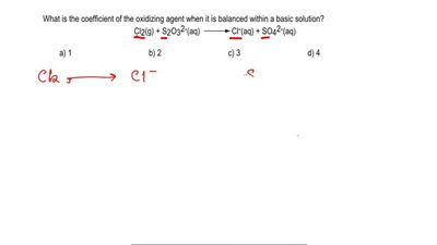 What is the coefficient of the oxidizing agent when it is balanced within a ba...