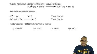 Calculate the maximum electrical work that can be produced by this cell.  3 Co...