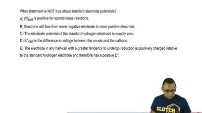 What statement is NOT true about standard electrode potentials?  A) E°cell is ...