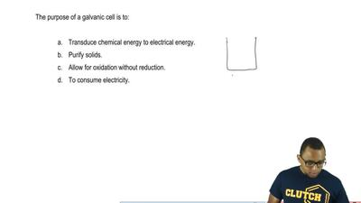 The purpose of a galvanic cell is to:  a. Transduce chemical energy to electri...