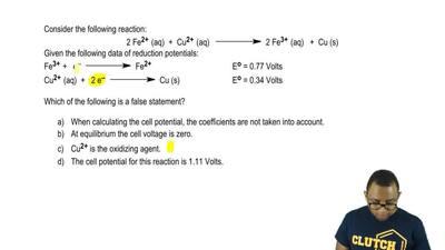 Consider the following reaction:  2 Fe2+ (aq) + Cu2+ (aq)   →    2 Fe ...