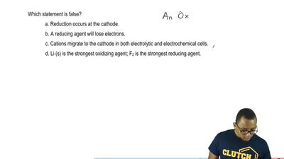 Which statement is false?  a. Reduction occurs at the cathode.  b. A reducing ...