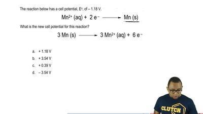 The reaction below has a cell potential, Eo , of – 1.18 V. Consider the reacti...