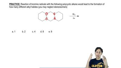 Reaction of bromine radicals with the following polycyclic alkane would lead t...
