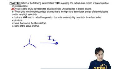 Which of the following statements is TRUE regarding the radical chain reaction...
