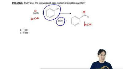 True/False: The following acid-base reaction is favorable as written?        a...