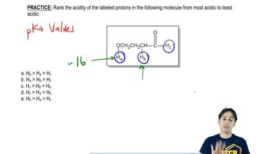 Rank the acidity of the labeled protons in the following molecule from the mos...