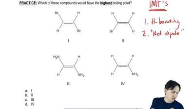 Which of these compounds would have the  highest boiling point?  a. I  b. II  ...