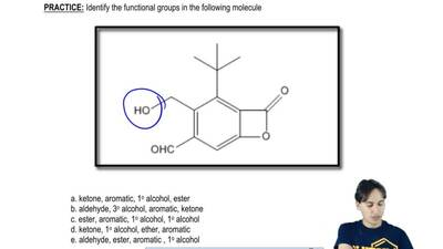 Identify the functional groups in the following molecule:  a. ketone, aromatic...