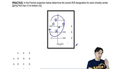 In the Fischer projection below determine the correct R/S designation for each...
