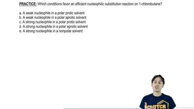 Which conditions favor anefficient nucleophilic substitution reaction on 1-ch...