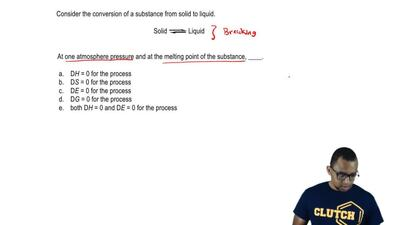 Consider the conversion of a substance from solid to liquid.  Solid ⇌ Liquid  ...
