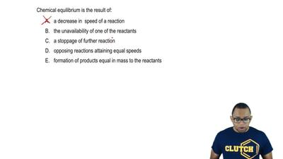 Chemical equilibrium is the result of:    A.a decrease in speed of a reactio...