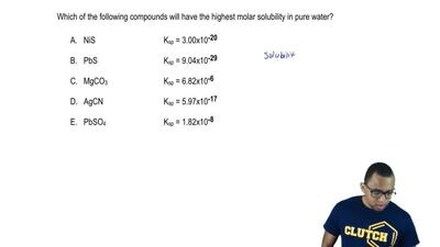 Which of the following compounds will have the highest molar solubility in pur...