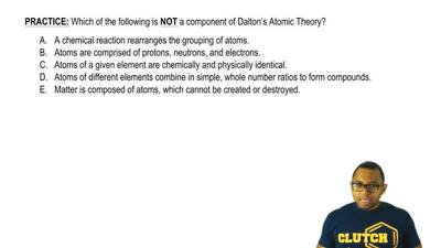 Which of the following is NOT a component of Dalton's Atomic Theory?  A. A che...