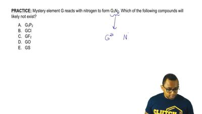 Mystery element G reacts with nitrogen to form G3N2. Which of the following co...
