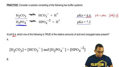 Consider a solution consisting of the following two buffer systems:  H2CO3    ...