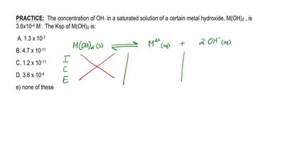 The concentration of OH - in a saturated solution of a certain metal hydroxide...