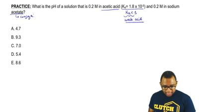 What is the pH of a solution that is 0.2 M in acetic acid (Ka= 1.8 x 10  -5) a...