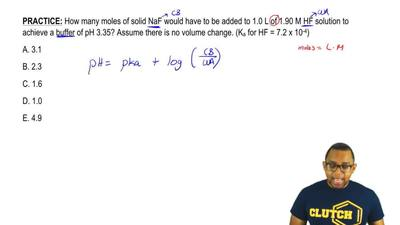 How many moles of solid NaF would have to be added to 1.0 L of 1.90 M HF solut...