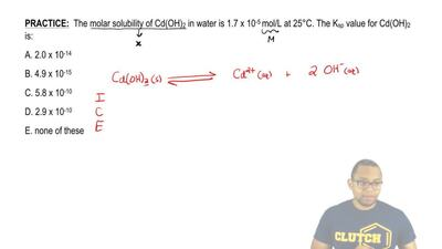 The molar solubility of Cd(OH)2 in water is 1.7 x 10-5 mol/L at 25°C. The Ksp...