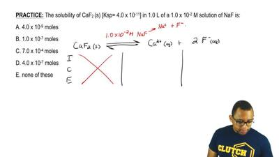 The solubility of CaF2 (s) [Ksp= 4.0 x 10 -11] in 1.0 L of a 1.0 x 10 -2 M sol...