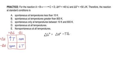 For the reaction A + B ⇌ C + D, ΔH°= +40 kJ and ΔS°= +50 J/K. Therefore, the r...
