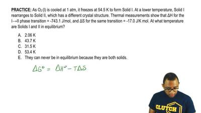 As O2 (l) is cooled at 1 atm, it freezes at 54.5 K to form Solid I. At a lower...