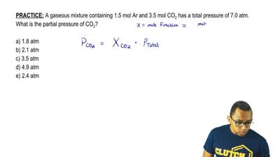 A gaseous mixture containing 1.5 mol Ar and 3.5 mol CO 2 has a total pressure ...
