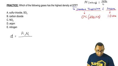 Which of the following gases has the highest density at STP?     A. sulfur tri...