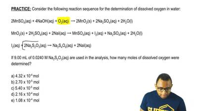 Consider the following reaction sequence for the determination of dissolved ox...