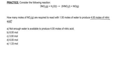 Consider the following reaction:  3 NO2 (g) + H2O (l) → 2 HNO3 (l) + NO (g)  H...