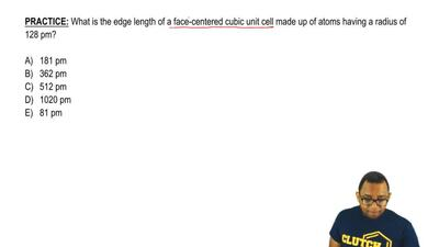 What is the edge length of a face-centered cubic unit cell made up of atoms ha...