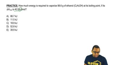 How much energy is required to vaporize 98.6 g of ethanol (C2H5OH) at its boil...