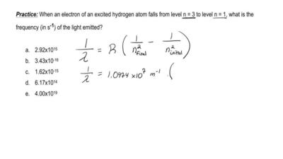 When an electron of an excited hydrogen atom falls from level n = 3 to level n...
