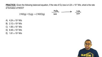 Given the following balanced equation, if the rate of Cl2 loss is 4.24 × 10-2 ...
