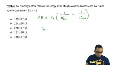 For a hydrogen atom, calculate the energy (in kJ) of a photon in the Balmer s...